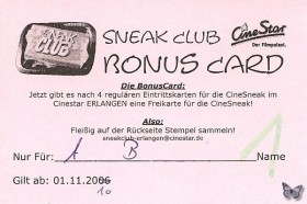 Erlangen Sneak Club Bonus Card